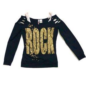 BONGO rock sparkle distressed long sleeve top